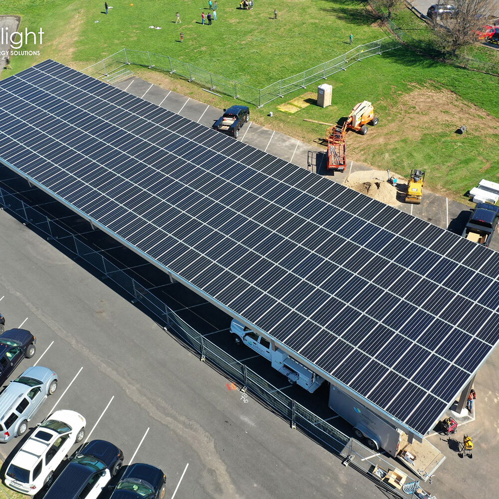 PACE solar canopy over parked cars