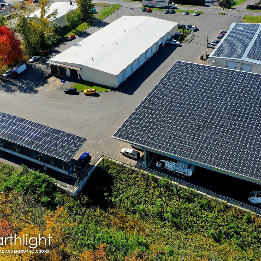 PACE solar canopies over parked cars